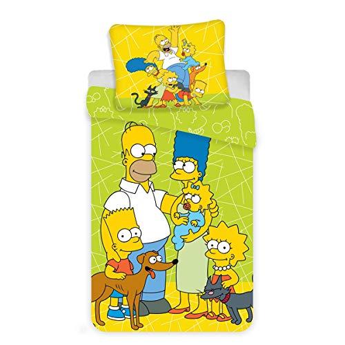 The Simpsons Family Bettwäsche-Set, 100 % Baumwolle, grün