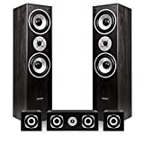 Fenton 5.0 Surround Sound Speakers System Hi Fi Home Cinema Theatre Black Wooden