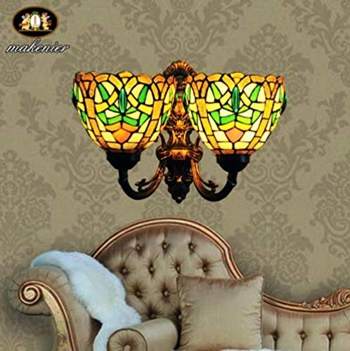 Tiffany Europaische retro-stijl glas in lood wandlamp 2 bollen