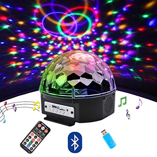 outgeek Disco Ball, DJ Lights Farbe LED Bluetooth Bühnenlichter Rotierender Crystal Magic Ball Sound Aktiviertes Licht mit MP3-Fernbedienung und USB für Disco Christmas KTV Club Pub