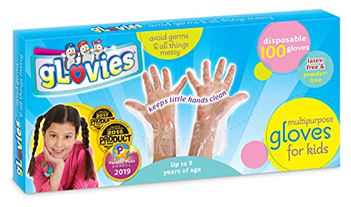 gLovies - My Mom Knows Best - 100 gLovies - Multipurpose Latex-Free Disposable Gloves for Kids - 100 Count - Kindergarten to 3rd Grade