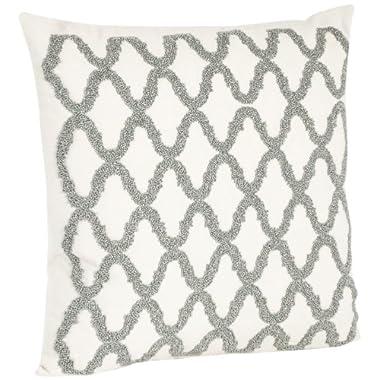 SARO LIFESTYLE H6085.PW18S Square Beaded Design Down Filled Throw Pillow, Pewter, 18