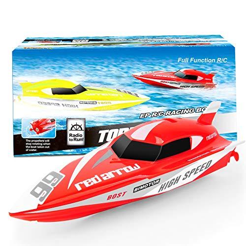 GizmoVine Mini Barco Teledirigido, Barcos RC de 2,4 GHz para Piscinas Que Compiten con Juguetes AcuáTicos Submarinos para NiñOs NiñAs NiñOs (901-rojo)