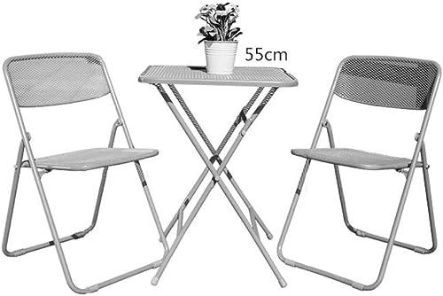 nueva gama alta exclusiva Folding Folding Folding Chair Home Mesas y sillas Plegables Mesa de Hierro Forjado Muebles para Exteriores Combinación de Ocio Simple Mesa Plegable (Color  A, Tamaño  Una Mesa + Dos taburetes)  tienda de bajo costo