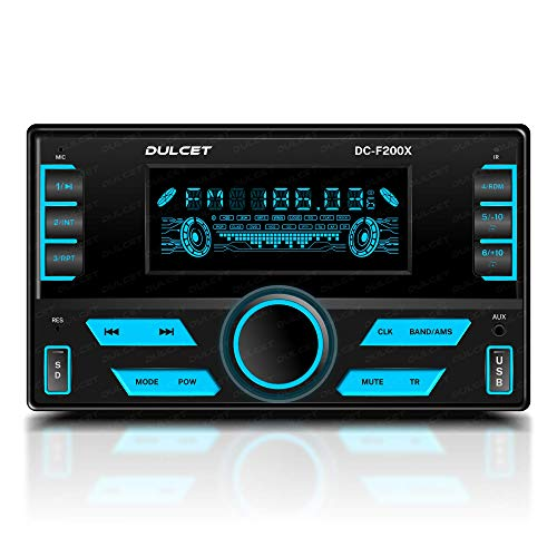 DULCET DC-F200X 220W Double Din Mp3 Car Stereo with Hands-Free Calling/Bluetooth/USB Input/FM Radio/AUX Input/Remote Control/7 Color LCD Display/ID3 Tag with EQ/Bass/Treble Balance, Fader Control
