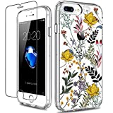 GiiKa iPhone 8 Plus Case, iPhone 7 Plus Case with Screen Protector, Clear Heavy Duty Protective Case Floral Girls Women Hard PC Case with TPU Bumper Cover Phone Case for iPhone 8 Plus, Wildflower