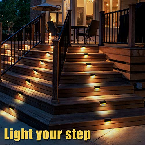 GIGALUMI 12 Pcs Solar Deck Lights, Bronze Finished Waterproof Led Solar Lamp for Outdoor Pathway, Yard, Patio, Stairs, Step and Fences. (Warm White)