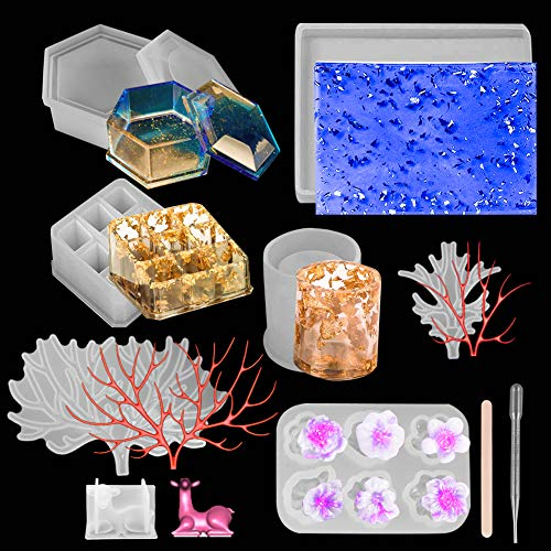 23Pcs Silicone Resin Molds Set- Deer Makeup Jewelry Display Tray+ 9-Slot Lipstick Organizer+ Hexagon Storage Box+ Flower Tray + Mixing Sticks+ Plastic Droppers, Epoxy Mold for DIY Resin Casting