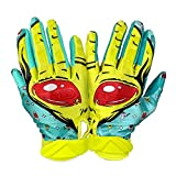 Battle Sports Alien Cloaked Receiver Gloves for Adults - Ultra-Tack Sticky Palm Pro-Style Gloves (M)