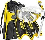 Cressi Palau Traveling Premium Snorkel Set Panoramic Wide View Adult Diving Set (Yellow, Deluxe, M/L...