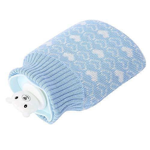 Bolsa de silicona suave para botellas de agua con diseño de oso, para terapia de calor o frío, con funda de punto, para camping, Hunting, regalo cálido [azul], calentador de manos y pies