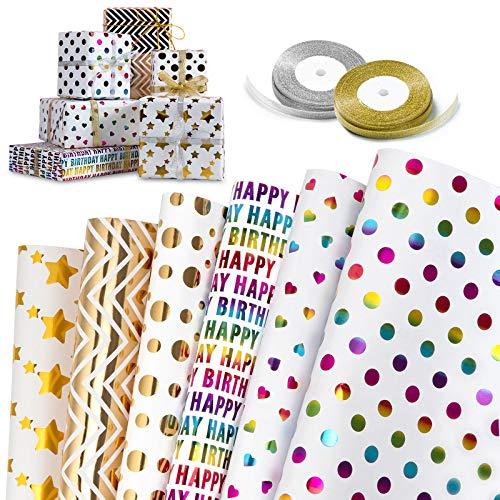 Papel de Regalo, GuKKK 6 Hojas Papel Para Envolver Regalos + 2 Rollo de Cinta, Niños Niñas Cumpleaños Papel Regalo, para Cumpleaños, San Valentín, Día De Fiesta, Baby Shower, Navidad(70 x 50cm)