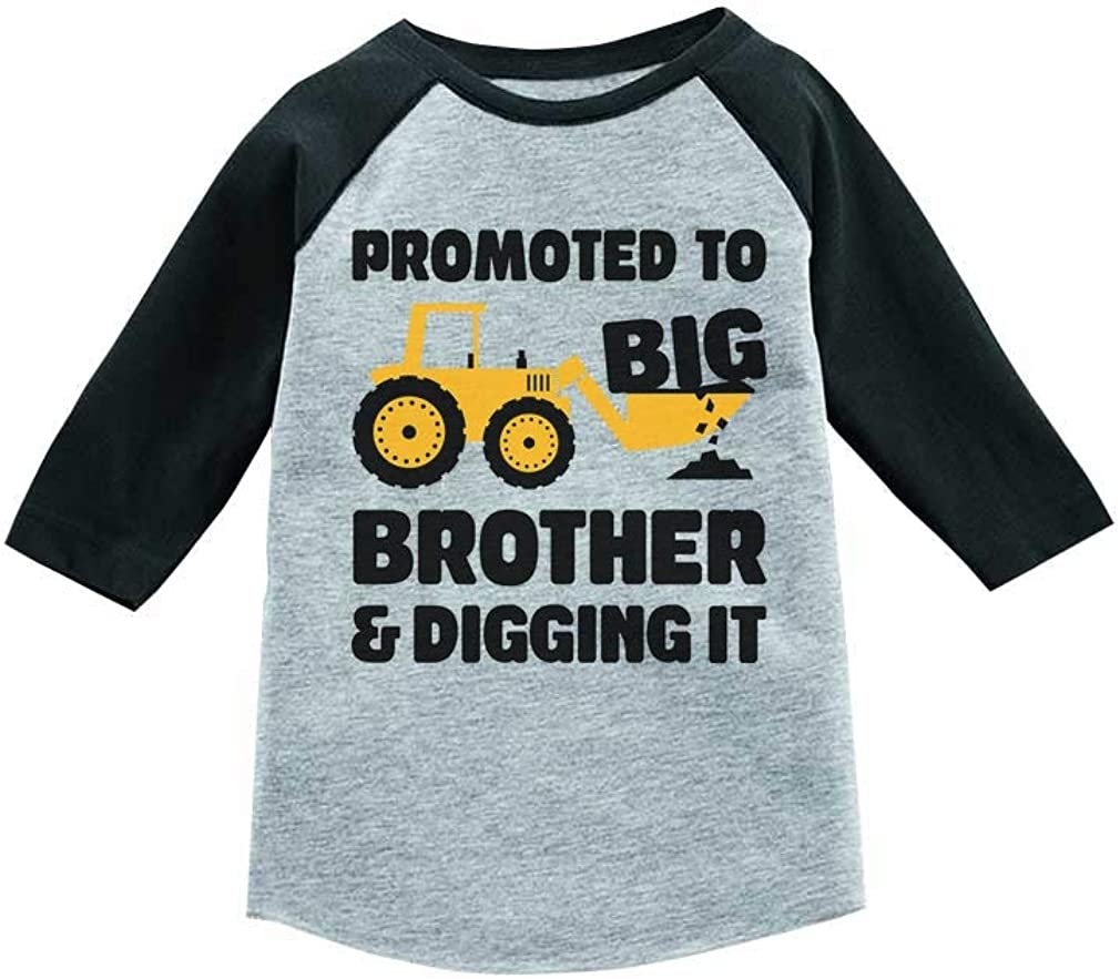 Tractor Promoted to Big Brother 3/4 Sleeve Baseball Jersey Toddler Shirt