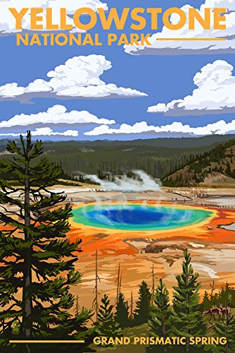 Yellowstone National Park, Wyoming - Grand Prismatic Spring (9x12 Art Print, Wall Decor Travel Poster)
