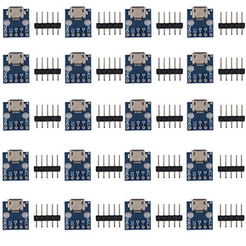 RUNCCI-YUN 20pcs Micro USB Hembra, Micro USB a Dip 5 Pines Adaptador de 2,54 mm Conector Hembra Tipo B de PCB Convertidor para DIY Fuente de Alimentación USB Diseño Tablero
