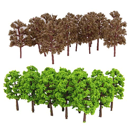 Hellery 40x Model Plastic Artificial Layout Rainforest Diorama, Building Model Trees Cake Topper, Model Train Railways Architecture Landscape