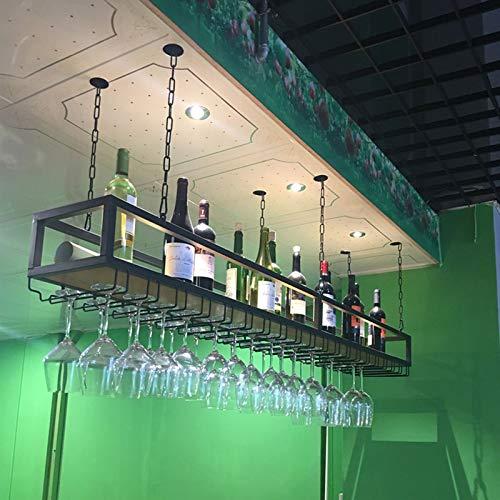 Plafond Wijnrek Verstelbare Hoogte Decoratie Plank, Retro Ijzer Massief Houten Plafond Plank Enkele Laag, Voor Bars/Restaurants/Keukens (Size : 100 * 25 * 100cm)
