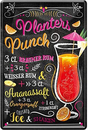 Planters Punch Przepis na koktajl Brązowy biały Rum sok z anasu sok pomarańczowy sok z cytryny 20 x 30 cm Bar Party piwnica dekoracja blaszana tabliczka 1853