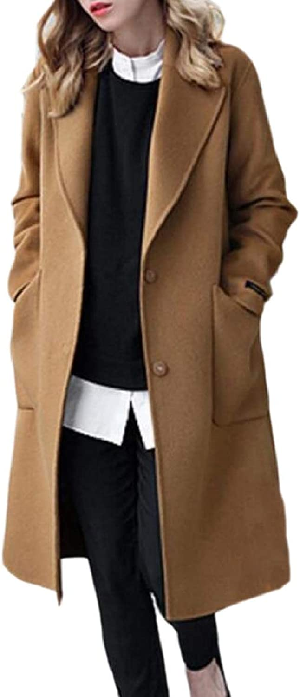 TymhgtCA Women Open Front Wool Blend Loose Fit Lapel Neck Peacoat Coat Jacket
