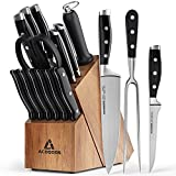 Knife Sets for Kitchen with Block, Chef Knife Set 17 Pcs with Boning Knife and Carving Fork, Knife Block Set with German Stainless Steel and Full-Tang Design by ACOQOOS