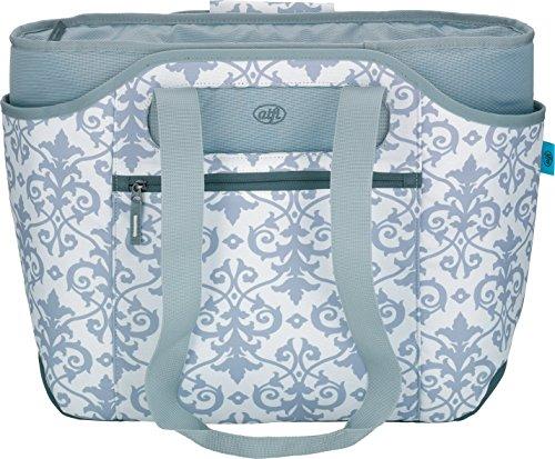 alfi Thermo-Kühltasche, isoBag mittel 23 Liter - Isolierte Einkaufstasche aus Polyester, weiß-silber Ornament 57 x 38 x 50 cm - 2in1, Isoliertasche inkl. extra Tragetasche - 0007.804.812