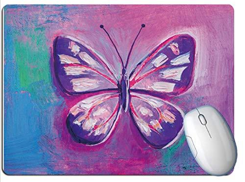 Alfombrilla De Ratón Para Juegos, Exquisita Mariposa Púrpura Con Pintura Al Óleo, Goma Resistente Al Desgaste Y Duradera, Alfombrilla De Ratón Para Juegos De Oficina Para Juegos Portátiles
