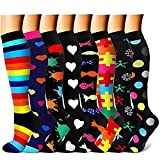 Womens Compression Socks Premium Wide Calf Medical Compression Socks Stockings for Running,Athletic,Recovery (Pattern 4,L/XL)
