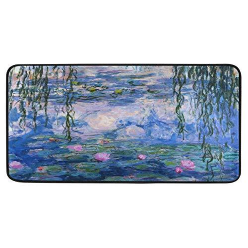 Vipsa Teppichläufer, rechteckig, Polyester, rutschfest, 99 x 51 cm, Monet Wasserlilie