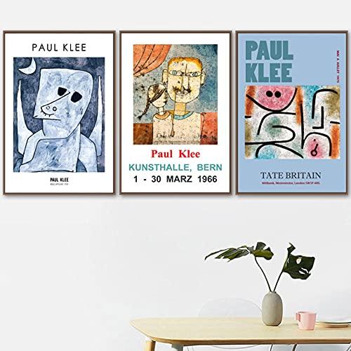 Póster nórdico abstracto Paul Klee Flower Girl Museum Arte de la pared Pintura en lienzo Impresiones Decoración de la sala Imagen de la pared 40x50cm (16x20in) x3 Sin marco