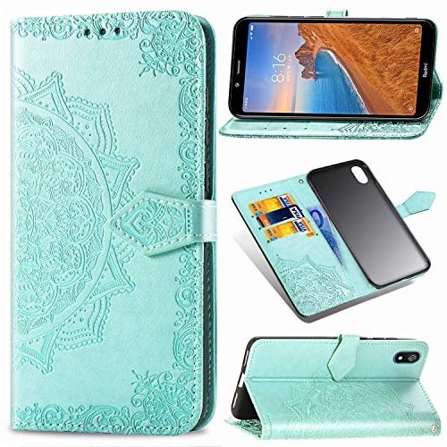 Abuenora Hülle für Xiaomi Redmi 7A, Handyhülle Leder Tasche Stoßfest Flipcase Wallet Hülle Schutzhülle Handytasche Ledertasche Ständer Klapphülle Brieftasche Mandala Grün