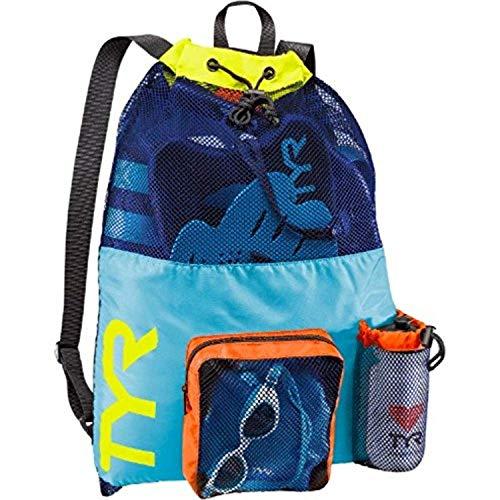 Review Of Swim Bundle: TYR Big Mesh Mummy Backpack Blu/Yellow All & Swimming Earplugs