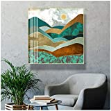 キャンバスの絵画のポスタープリントリビングルームの家の装飾のトレンディなグリーンゴールデンヒルズ抽象的なシーンインテリア-23.6インチx 23.6インチ(60x60cm)フレームレス