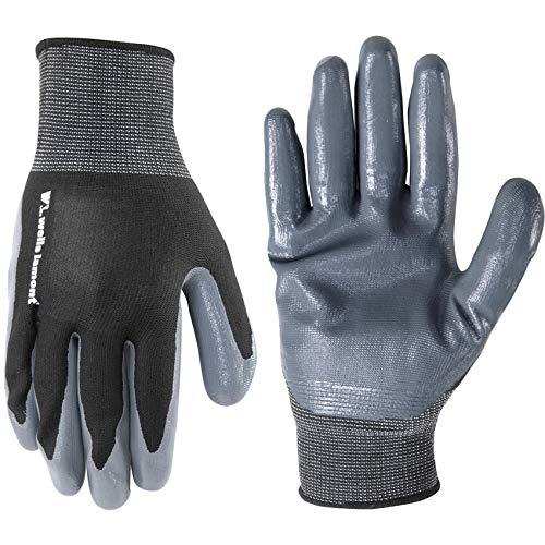 Men's Coated Grip Work Gloves, Nitrile Coating, Medium (Wells Lamont 546), Grey/Silver