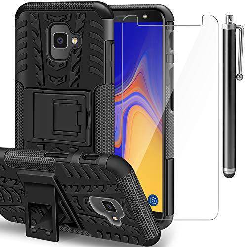 AROYI Samsung Galaxy J4 Plus Hülle+ Panzerglas, Galaxy J6 Plus TPU Series Dual Layer Hybrid Handyhülle Drop Resistance Handys Schutz Hülle mit Ständer für Samsung Galaxy J4 Plus/J6 Plus Schwarz