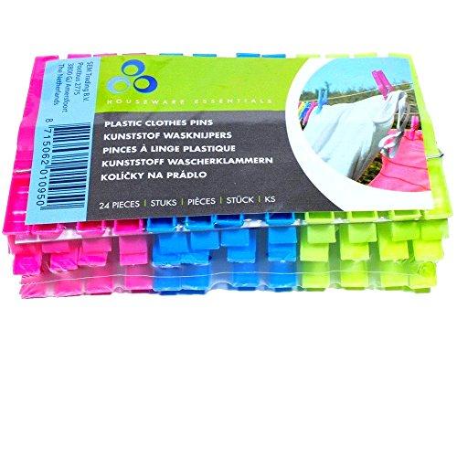 24 Kunststoff Wäscheklammern 3 farbig 8 cm
