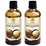 Huile de Macadamia 200ml - 100% Pur & Naturel 2x100ml - Huile de Base - Riche en Minéraux - Vitamines - Soins intensifs pour le Visage - Corps - Cheveux - Aromathérapie - Détente - Massage