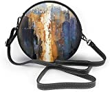 Bolso redondo mujer Watercolor Painting City Women Soft Leather Round Shoulder Bag Zipper Circle Purses Sling Bag