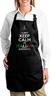 I Can't Keep Calm,I'm Italian Unisex Adjustable Cooking Kitchen Aprons with Pockets Bib Apron for Cooking Baking Crafting Gardening