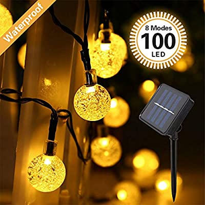 IMOZEN Upgrade 100 LED Solar Globe String Lights Outdoor, 8 Modes 39ft Waterproof Crystal Ball Solar String Lights Garden Patio Lights for Yard Home Party Wedding Christmas Decoration(Warm White)