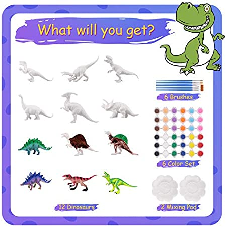 Kids Educational Set Toys 4 5 6 7 8 Years Old Boys and Girls CNMF 60 PCS 3D Dinosaur Toys for Kids DIY Arts Crafts and Supplies Set Painting Kit Party Toys