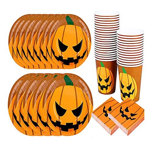 CAKEY 80 Stück Halloween Teller Aus Papier Geburtstag Partygeschirr Geschirr-Set Pappteller Vintage Halloween Teller Becher Servietten-Set für Halloween Party