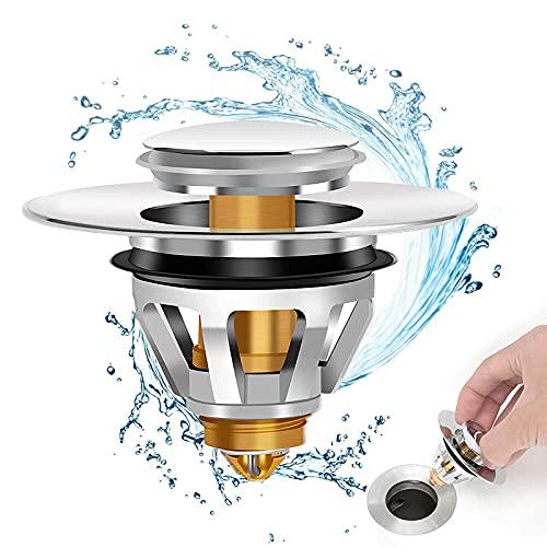 Pop Up spine del lavandino, universale Bullet Core spingere il tipo, bagno spina senza troppopieno bacino filtro di scarico con cestino per la cucina, bagno (34-38mm)