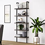 Nathan James Theo 5-Shelf Wood Modern Bookcase, Open Wall Mount Ladder Bookshelf with Industrial Metal Frame, Warm Walnut/Black