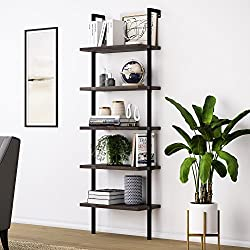 shelves Wood Ladder Bookcase with Metal Frame wall decoration idea