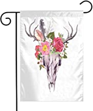 Mannwarehouse Antler Decor Garden Flag Deer Animal Skull with Flowers and Feathers Vintage Style Watercolor Artwork Premium Material W12 x L18 Multicolor