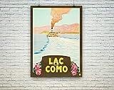 AZSTEEL Lake Como Poster: Vintage Italian Tourism Travel