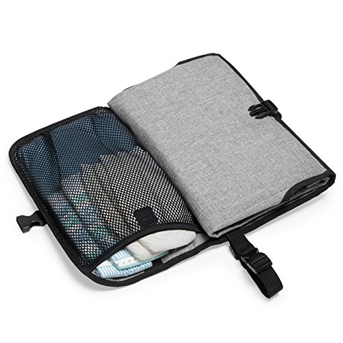 Skip Hop Portable Baby Changing Pad: Pronto Wipe Clean Changing Mat with Built-In Pillow and Wipes Dispenser, Grey Melange