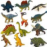 Fun Gift Mini dinosaurio de juguete (12 unidades), modelo de plástico pedagógico, Indominus rex, Spinosaurus, regalo de cumpleaños, para niños de 2, 3 y 4 años