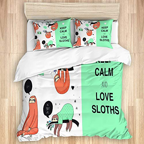 PATINISA Bedding Juego de Funda de Edredón,Lazy Sleepy Bear Tribu de los Perezosos australianos con la Caricatura de la Cita 'Keep Calm',Funda de Nórdico y Fundas de Almohada-(Cama 140 x 200cm