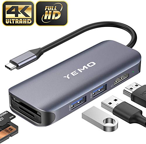 [2020 Latest]USB C Hub, YEMO 6-in-1 USB C Multiport Adapter Hub with 4K HDMI, SD/TF Card Port, 2 USB 3.0 Port, Portable Type C Hub USB C Dongle for MacBook/Pro/Air 2016/2017/2018 and More USB C Device
